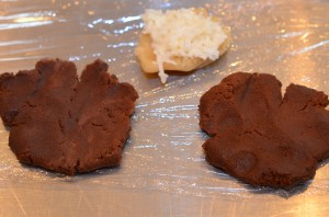 Both dough rounds before topping with the almond paste and coconut filling.