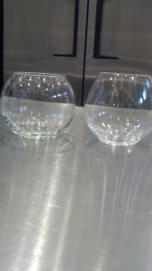 Left, a Libbey glass globe vase purchased at Joann Fabrics for $1.99. Right, Czech crystal stemless wine glass, TJ Maxx for $6.