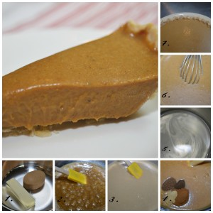 1. Melt butter and sugar. 2. Butter doesn't fully incorporate into sugar. 3. Add the SCM and like magic it smooths out. 4. Fragrant spices are added. 5. Gelatin is bloomed and melted. 6. Whisk gelatin into warm pumpkin toffee filling. 7. Pour into baked crust and chill to set.