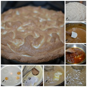 1. Egg yolks about to be whisked into milk. 2. Brown sugar, and cornstarch are whisked in. 3. Butter, and scotch are added. 4. The butter gives a glossy sheen. 5. Melted sugar turns to caramel lending a subtle bitterness. 6. The caramel enriches the color of the pastry cream. 7. American meringue tops the pie. 8. Baked to a chewy brown, the meringue hasn't started weeping.