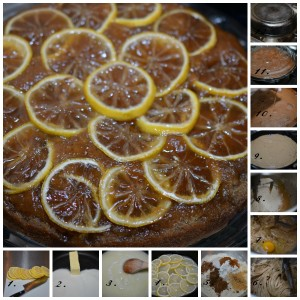 "1. Slice large lemons 1/4"" thick. 2. Melt sugar and butter together to create topping. 3 -4. Arrange lemon slices over hot topping. 5. Sift together flour, spices, and leavening. 6. Cream together butter and brown sugar. 7. Add eggs, ginger, and vanilla. 8. Add flour in two additions, and milk. 9. Gently add batter over top of lemon slices. 10. Bake until a toothpick insert in center comes out clean. 11. Set cake plate over top of skillet. 12. Using heat proof gloves/mitts, invert skillet and plate. Remove skillet to reveal the glistening, moist cake."