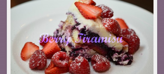 The layers, biscuit, jam, mascarpone, fresh berries are tempting to behold.